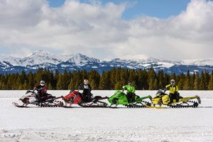Photo of snowmobilers in a group