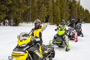 Photo of snowmobilers at the lodge
