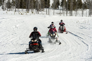Photo of snowmobilers riding the trails