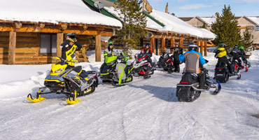 Snowmobilers at the lodge